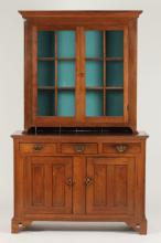 AMERICAN PINE CORNER CABINET WITH GLAZED DOORS OVER LOWER CASE, 19th Century.