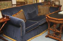 HENREDON ROYAL BLUE CUT VELVETEEN UPHOLSTERED THREE-CUSHION SOFA WITH PAIR STRIPED SQUARE ACCENT PILLOWS. 20th Century. - L: 92 in.