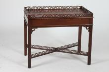 GEORGE III MAHOGANY STYLE GALLERIED SILVER TABLE, 20th Century. - 27 1/4