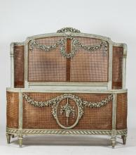 FRENCH LOUIS XVI-STYLE PAINTED/CANE BED. 20th Century. - Headboard: 60 1/4