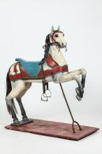 PAINTED CAROUSEL HORSE WITH GLASS EYES, 19th Century. - 58 1/2