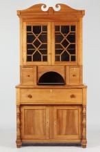 AMERICAN FEDERAL WALNUT, MAPLE AND OTHER WOOD WINE CABINET, early 19th century. - 72 1/2 in. high x 46 in. wide x 22 in. deep.