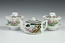 CHINESE FAMILLE ROSE PORCELAIN TEA POT, Ya Yu Tang hall mark. - 3 3/8 in. high.