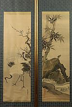 JAPANESE SCHOOL (Japanese, 19th Century). CRANES UNDER PRUNUS TREE, Two ink and color on silk scrolls. Signed, sealed and framed.
