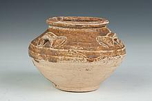 CHINESE BROWN GLAZED POTTERY JAR. Tang Dynasty or later. - 4 1/4 in. high.