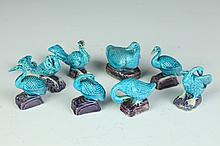 EIGHT CHINESE TURQUOISE PORCELAIN FIGURES OF BIRDS, 20th Century. - Largest: 2 3/4 in. high.