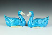 PAIR CHINESE TURQUOISE PORCELAIN FIGURES OF DUCKS, 20th Century. - 6 1/2 in. high.