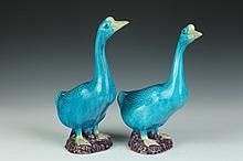 PAIR CHINESE TURQUOISE, AUBERGINE AND YELLOW PORCELAIN FIGURES OF DUCKS, Qing Dynasty. - 12 in. high.