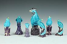 SEVEN CHINESE TURQUOISE PORCELAIN FIGURES OF BIRDS. - Largest: 6 in. high.