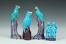 FOUR PIECES CHINESE TURQUOISE AND AUBERGINE PORCELAIN. - Largest: 7 1/4 in. high.