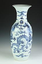 CHINESE BLUE AND WHITE PORCELAIN DRAGON VASE, Late 19th/ early 20th Century. - 23 in. high.