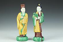 TWO CHINESE SANCAI PORCELAIN FIGURES OF MEIREN AND SCHOLAR, Marked China. - 9 1/2 in. high.
