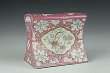 CHINESE FAMILLE ROSE PORCELAIN PILLOW, Republic Period. - 5 1/2 in. high.
