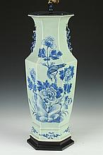 CHINESE BLUE AND CELADON HEXAGONAL VASE, 19th Century. - 23 1/4 in. high.