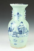 CHINESE BLUE AND CELADON VASE, 19th Century. - 16 3/4 in. hgih.