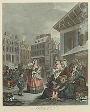 AFTER WILLIAM HOGARTH (English, 1697-1764). Morning, Noon, Evening, Night, Colored engravings, by B. Baron. Unframed; hinged.