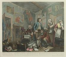 AFTER WILLIAM HOGARTH (English, 1697-1764). A Rake's Progress - eight plates, Colored engravings. Unframed; hinged.