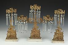 THREE-PIECE VICTORIAN GARNITURE. 19th century. - 14 3/4 in. to 16 1/2 in. high.