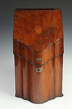 GEORGE III INLAID MAHOGANY KNIFE BOX, late 18th century. - 15 in. x 8 3/4 in. x 10 1/2.