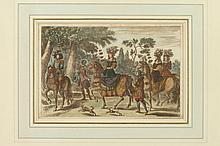 THREE HAND-COLORED ENGRAVINGS. - 7 1/2 in. x 11 1/2 in., sight size.