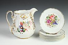 SIX PARIS PORCELAIN DESSERT PLATES AND A PITCHER, 19th century. - 7 1/4 in. diam., plate; 8 1/2 in. high, pitcher.
