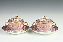 TWO KPM PORCELAIN BOUILLON BOWLS AND COVERS WITH SAUCERS, 19th century. - 3 1/2 in. high.