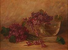 AFTER BENJAMIN CHAMPNEY (American, 1817-1907). STILL LIFE WITH PURPLE FLOWERS IN GLASS BOWL, signed lower left. Oil on canvas.