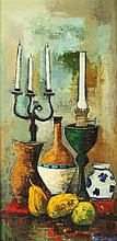 LUC VERGER (French, 20th century). STILL LIFE WITH CANDELABRA AND JARS, signed lower left. Oil on canvas.
