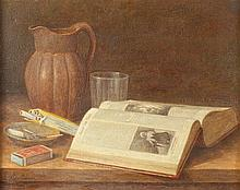 S. DUT*** (Continental, 20th century). STILL LIFE WITH OPEN BOOK AND PACK OF CIGARETTES, signed lower left. Oil on canvas.