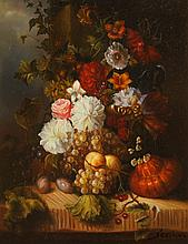 CONTINENTAL SCHOOL (2Oth century). STILL LIFE WITH FRUIT AND FLOWERS, oil on panel.