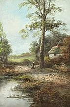 CONTINENTAL SCHOOL (20th century). SUMMER COTTAGE BY LAKE, oil on canvas.