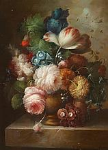 S. MARIA (20th century). FLORAL STILL LIFE, signed lower right. Oil on panel.