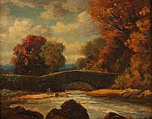 CONTINENTAL SCHOOL (20th century). BRIDGE SCENE IN AUTUMN, oil on board.