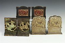 POLO, THE RACE, AND THE HUNT SCENE BOOKENDS. 20th century. - Heights: 5 3/8 in. x 6 1/2 in. x 4 1/2 in.