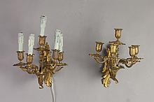 PAIR LOUIS XV-STYLE GILT-BRONZE FIVE-LIGHT SCONCES, 20th century. - 12 in. x 11 1/2 in. to 15 1/2 in. x 11 1/2 in.