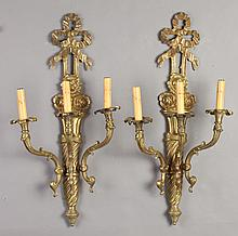 PAIR LOUIS XVI-STYLE GILT-BRONZE THREE-LIGHT SCONCES, 20th century. - 25 3/4 in. high. x 12 3/4 in. wide.