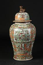 LARGE CHINESE ROSE MEDALLION PORCELAIN VASE AND COVER, 20th Century. - 33 in, high.
