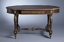 NAPOLEON III MARQUETRY INLAID AND GILT-BRASS MOUNTED SHAPED OVAL BUREAU PLAT. - H: 37 1/4 in. ; Top 60 in. x 31 1/2 in.