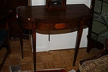 GEORGE III STYLE MAHOGANY FLIP-TOP CONSOLE TABLE, 20th century. - 29 3/4 in. x 35 in. x 18 in.