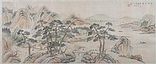 ANONYMOUS (Chinese, 20th century). RIVERSCAPE, ink and color on silk, framed.