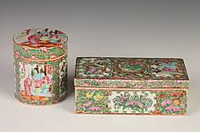 CHINESE ROSE MEDALLION PORCELAIN PEN HOLDER AND CIRCULAR BOX AND COVER, 19th Century. - Larger: 7 1/4 in. long.