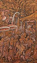 N. MALEN (Balinese, 20th Century). VILLAGE LIFE, Oil on fabric, signed and framed.