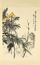 AFTER WU CHANGSHUO (Chinese, 1844-1927). Untitled, Ink and color on paper scroll, signed and sealed.