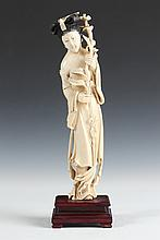 CHINESE IVORY FIGURE OF MEIREN, - 11 5/8 in. high.
