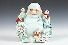 CHINESE FAMILLE ROSE PORCELAIN FIGURAL GROUP, - 9 3/4 in. high.