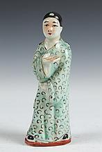 CHINESE FAMILLE ROSE PORCELAIN FIGURE OF SCHOLAR. Republic Period;