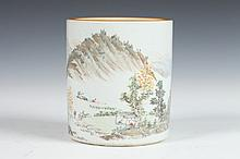 CHINESE FAMILLE VERTE PORCELAIN BRUSH POT , Republic Period,
