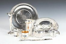 EIGHT PIECES AMERICAN STERLING SILVER TABLEWARE. - Largest: 11 1/4 in. diam; weight: 29 oz 2 dwt.