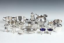 COLLECTION OF ENGLISH STERLING SILVER TABLE ARTICLES. - Largest: 6 7/8 in. long; 45 oz. 8 dwt.
