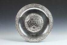 CHILEAN HANDMADE SILVER (900 FINE) CHARGER. - Weight: 35 oz.; 15 7/8 in. diameter.